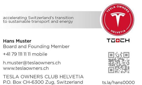 Visitenkarten Bestellen Tesla Owners Club Helvetia